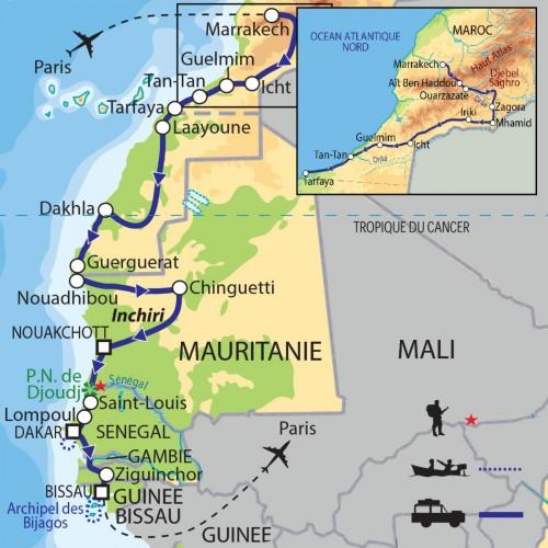 Carte : Mauritanie Sénégal Guinée-Bissau - Grande traversée africaine