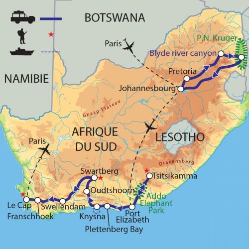 Carte : Afrique du Sud - Entre terre et océan