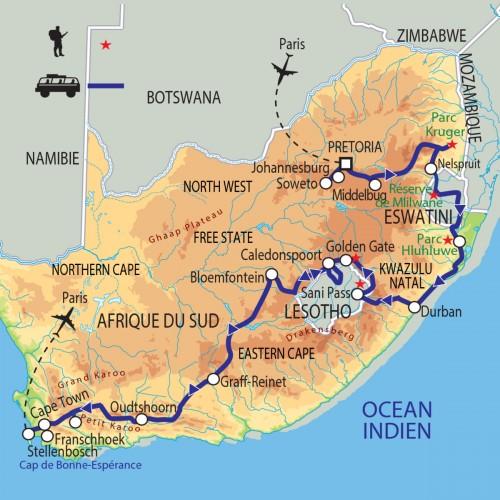 Carte : Afrique du Sud - Epopées sud-africaines