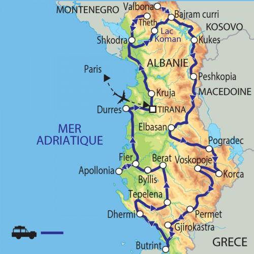 Carte : Albanie - Entre mer et montagnes, le pays des aigles