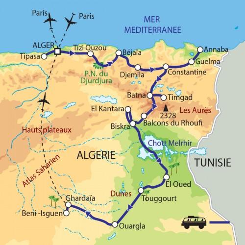 Carte : Algérie - Les oasis et les sites antiques du nord