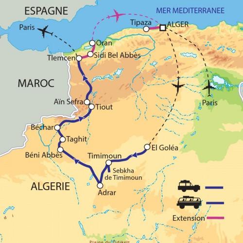Carte : Algérie - Les oasis du Grand Erg Occidental