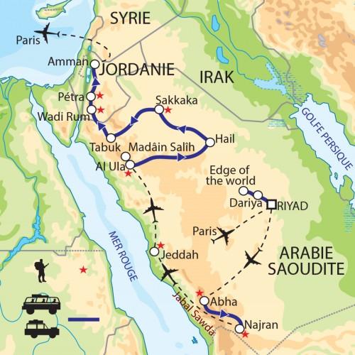 Carte : Arabie saoudite Jordanie - Routes nabatéennes : de l'Arabie Heureuse à l'Arabie Pétrée