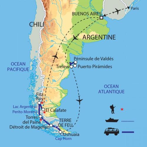 Carte : Argentine Chili - Terres australes