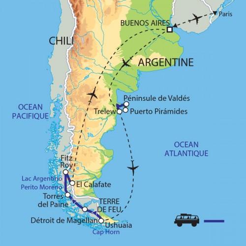 Carte : Argentine - Chili - Terres australes