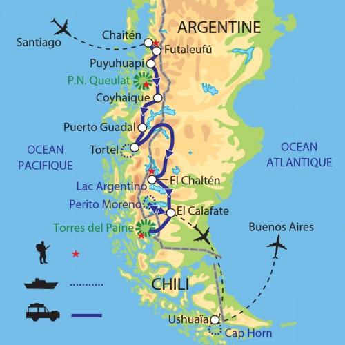 Carte : Argentine Chili - Grande traversée de la Patagonie
