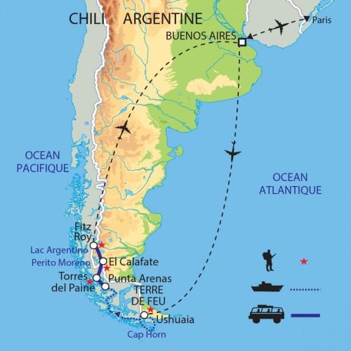 Carte : Argentine Chili - Exploration des terres et côtes australes