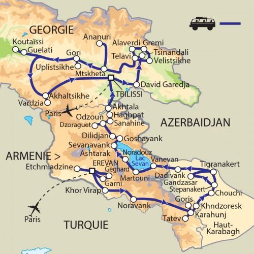 Carte : Arménie Géorgie - Le Caucase ou la terre de Dieu
