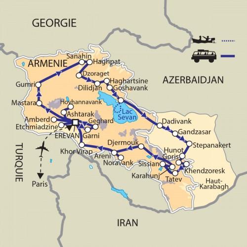 Carte : Arménie - Le Caucase et le Haut Karabagh