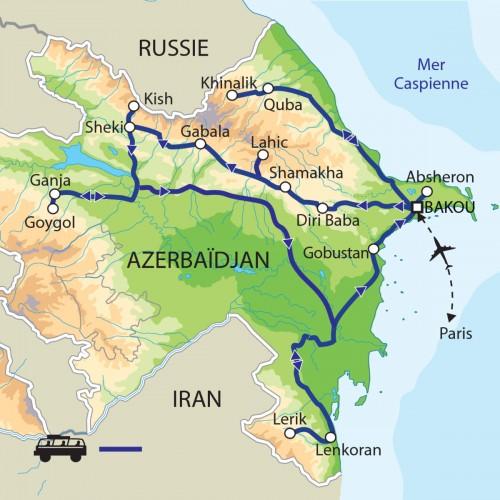 Carte : Azerbaïdjan - Autour de la mer Caspienne : terres des Zoroastriens
