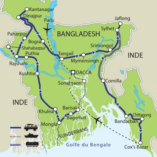 Carte : Bangladesh - Le Gange et le Brahmapoutre