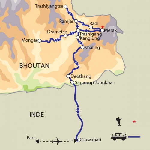 Carte : Bhoutan - Dans les contrées de l'Est