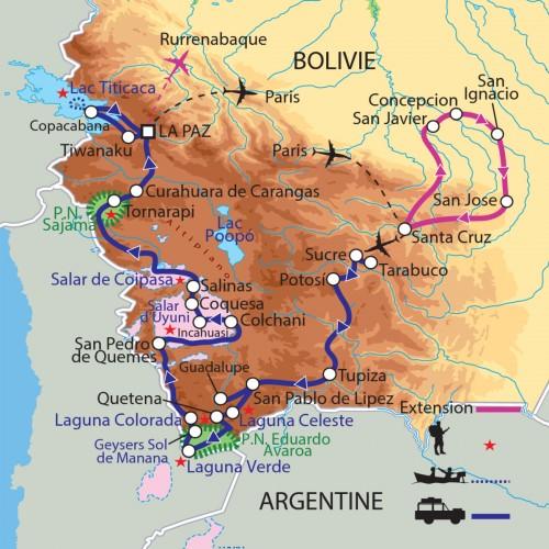 Carte : Bolivie - Du Sud Lipez au lac Titicaca