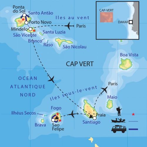 Carte : Cap Vert - Les perles de l'Atlantique