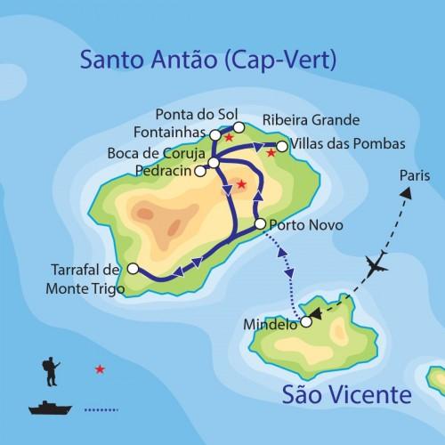 Carte : Cap Vert - Les îles au vent