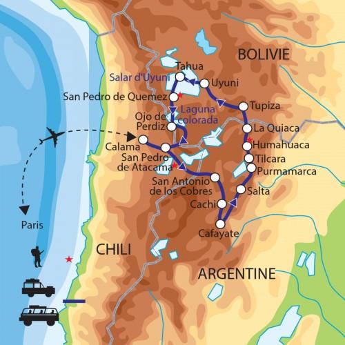 Carte : Chili Argentine Bolivie - Au coeur de l'Altiplano