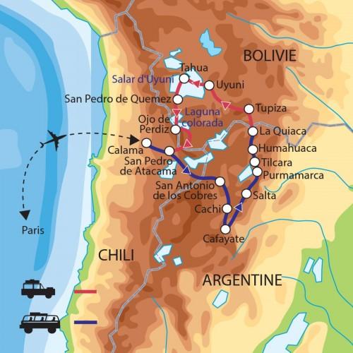 Carte : Chili - Argentine - Bolivie - Au coeur de l'Altiplano