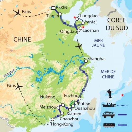 Carte : Chine - La Chine et la mer
