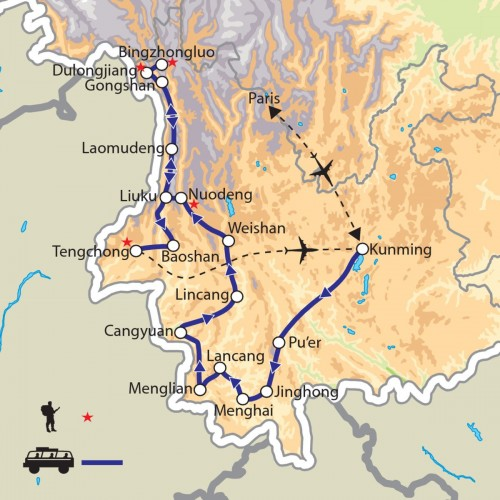 Carte : Chine - Yunnan de l'Ouest, le long de la Salouen