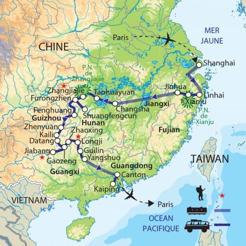 Carte : Chine - Zhejiang - Hunan - Guizhou - Guangxi