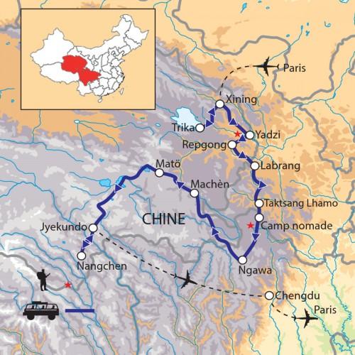 Carte : Chine - Nomades et pèlerins de l'Amdo et du Kham