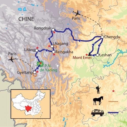 Carte : Chine - Bouddhas et Lamas, de Leshan à Yading