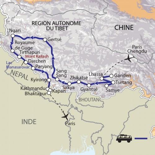 Carte : Chine Népal - Du royaume de Guge au Kailash, mont sacré