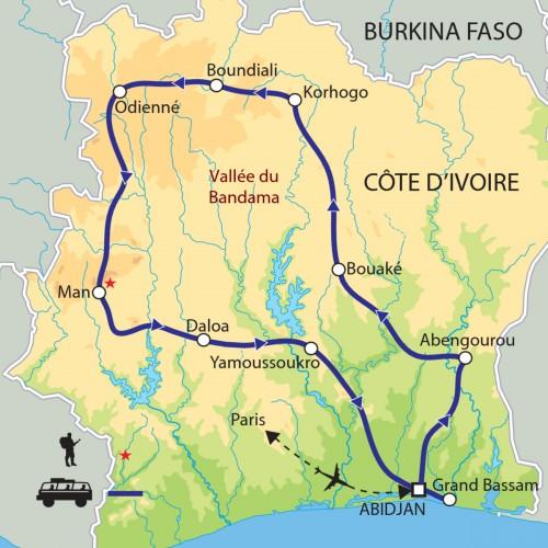 Carte : Côte d'Ivoire - Masques et danses sacrées