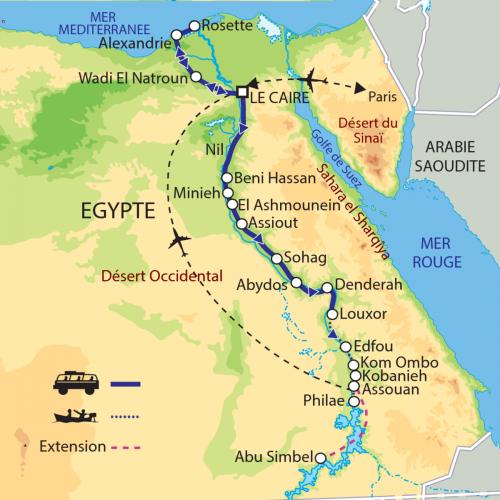 Carte : Egypte - Au fil du Nil