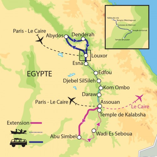Carte : Egypte - La Haute Egypte, de Louxor à Assouan