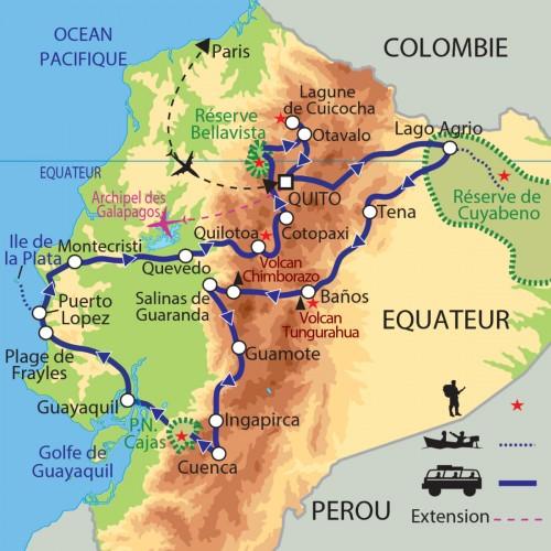 Carte : Equateur - Amazonie, côte Pacifique et volcans