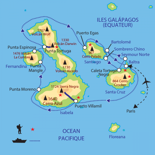 Carte : Equateur - L'Archipel des Galapagos