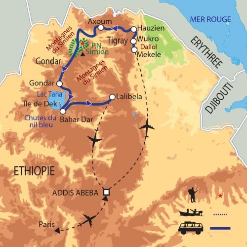 Carte : Ethiopie - Trésors d'Abyssinie et concrétions de sel du Dallol