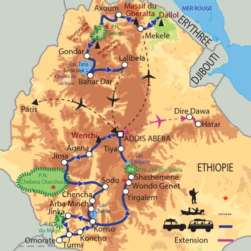 Carte : Ethiopie - Grande Ethiopie Sud-Nord