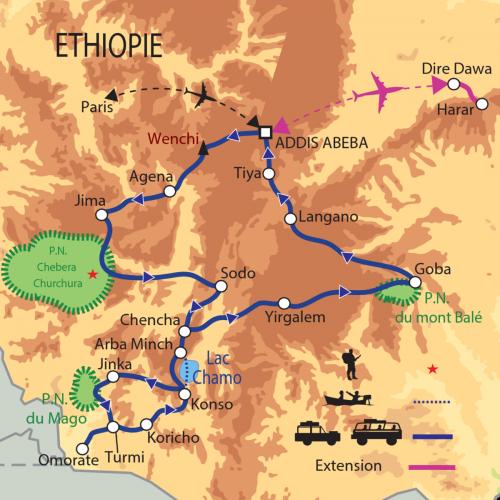 Carte : Ethiopie - Grand circuit dans le sud