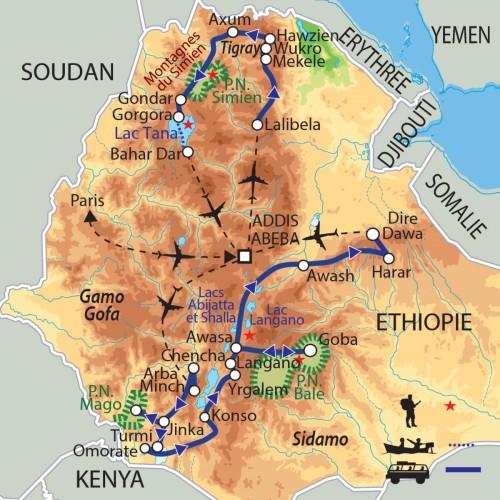 Carte : Ethiopie - Grande Ethiopie