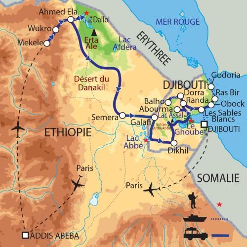 Carte : Ethiopie Djibouti - Expédition en territoire afar, du Danakil à Djibouti