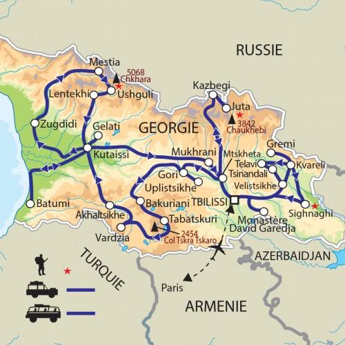 Carte : Géorgie - Par monts et vallées