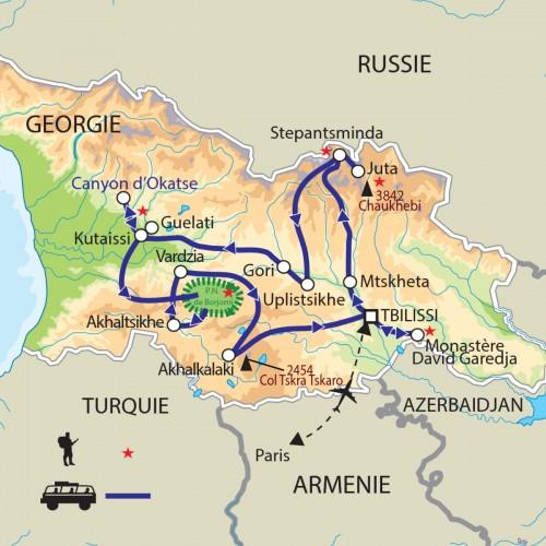 Carte : Géorgie - Découverte de la perle du Caucase
