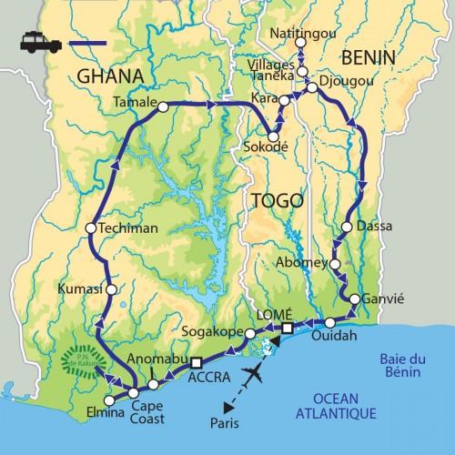 Carte : Ghana Togo Bénin - Fêtes tribales : faste, couleurs et envoutement