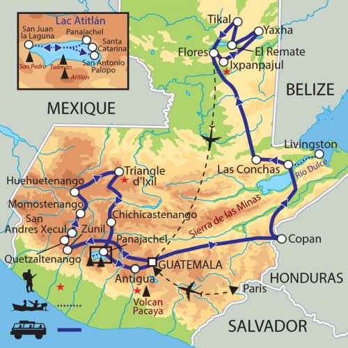 Carte : Guatemala - Des forêts du Peten au lac Atitlan