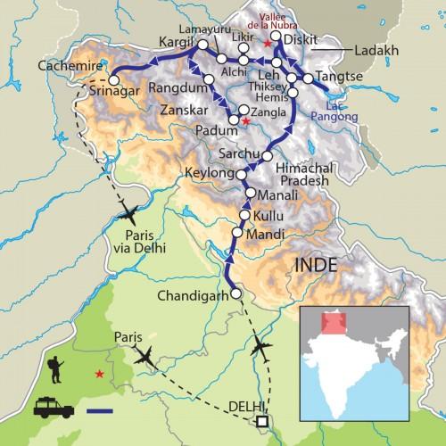 Carte : Inde - Himachal Pradesh - Ladakh - Zanskar - Cachemire