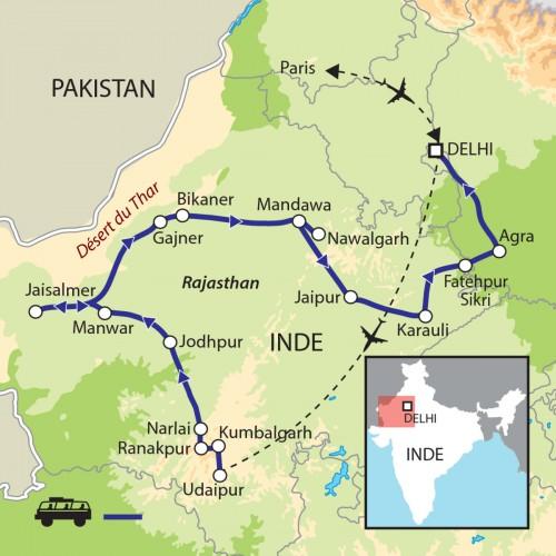Carte : Inde - Rajasthan : Désert, princes et paysans