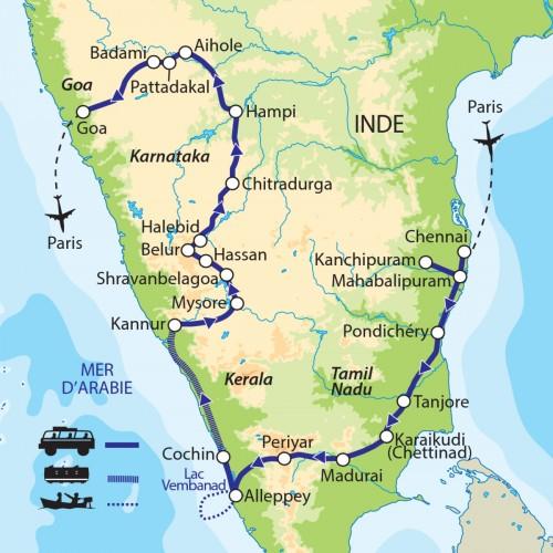 Carte : Inde - Grande traversée de l'Inde du Sud