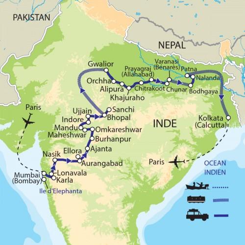 Carte : Inde - De Mumbai à Kolkata : Route spirituelle de l'Inde