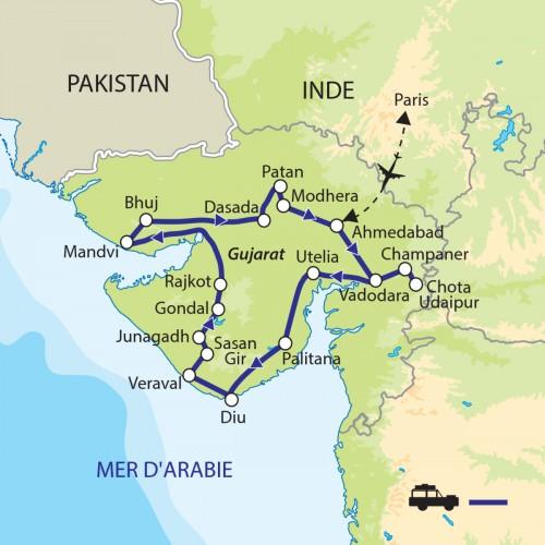 Carte : Inde - Gujarat : Trésors méconnus
