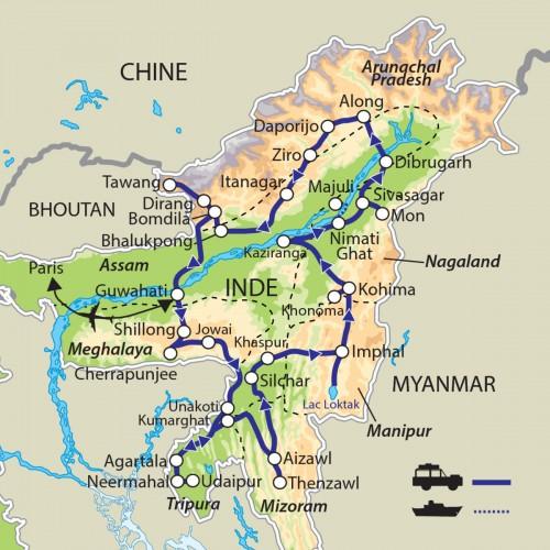 Carte : Inde - Les Seven Sisters States