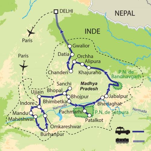 Carte : Inde - Madhya Pradesh
