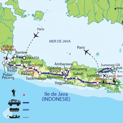Carte : Indonésie - Java : Traversée javanaise