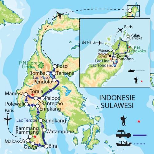 Carte : Indonésie - Sulawesi : Pays Toraja et pays Minahasa